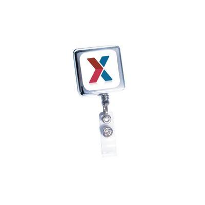Retract-A-Badge™ Square Metal Badge Holder